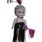 Old Original Carnival Doll  Soft Plastic Decorated with feathers