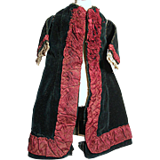 Antique French Fashion Doll Coat Luxuries old Black Velvet Trimmed with Maroon Silk
