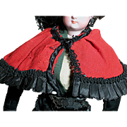 French Fashion Doll Cape Red Wool trimmed with Black Silk
