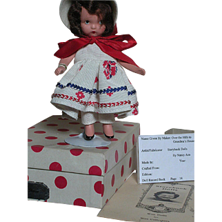 Nancy Ann Storybook Bisque Doll  #114 Over the Hill To Grandma's House MIB  with Extra's