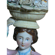 Vintage German China Figurine  Girl with Basket of Flowers on her Head