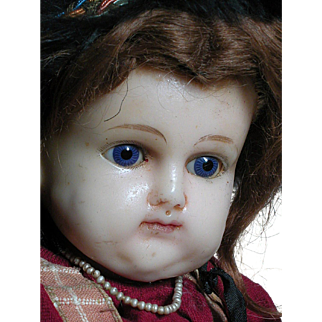 Large Antique Wax Doll Beautiful Glass eyes  Cloth Body  Original Clothes.