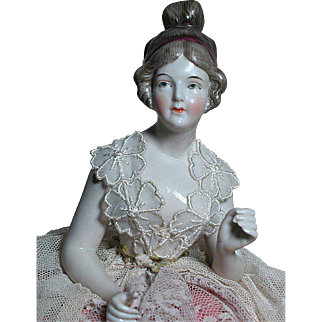 Antique German Porcelain  Half Doll  Pin Cushion  Well Dressed and Beautiful