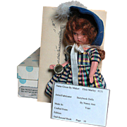 Vintage Nancy Ann Storybook All Bisque Doll  Elise Marley Gown so Fine #131 MIB with pamphlet & Wrist tag