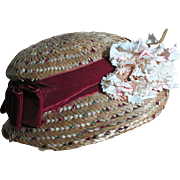 Vintage Natural Straw Doll Hat  with Original decoration Large size