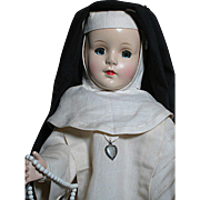 Vintage Hard Plastic Nun Doll Dressed by a Religious Convent Authentic Outfit