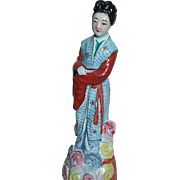 Vintage Chinese Famille Rose Porcelain Figurine  Women holding a Flute - Red Tag Sale Item