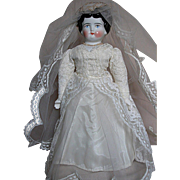 German China Shoulder head Doll  Dressed as a Bride