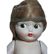 Vintage Carnival Kewpie  Composition Large  with Mohair Wig  Jointed at Arms