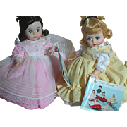 Madame Alexander Kins  Dolls Little Women  Amy and Beth On Old Madame Alexander Stands