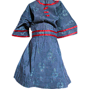 Vintage Doll Dress Deep Blue Print with Red Ribbon Trim