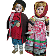 Two German Bisque Head Dolls  all Original from head to toe   Composition bodys