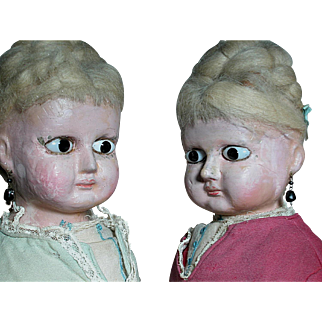 Rare Twin  Antique Wax-Over dolls  Complete Original Outfits  Wear earrings   Black Glass Eyes
