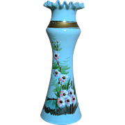 Bristol Blue Opaline Glass Vase with Enameled flowers Fluted top