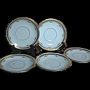 Limoges B & C France L. Bernardaud & Co.  6 Porcelain Saucers Decorated Gold Design