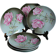 Hand painted Porcelain Weimar Germany 6 Matching Plates  Pink Roses