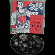 Vintage Pewter Dollhouse Tea Set in Original Box  World's Smallest