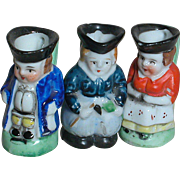Three Miniature Dollhouse Porcelain Toby Jugs