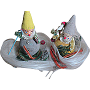 Vintage Christmas Gnomes or  Elfs in a Nest of Angel Hair   Japan