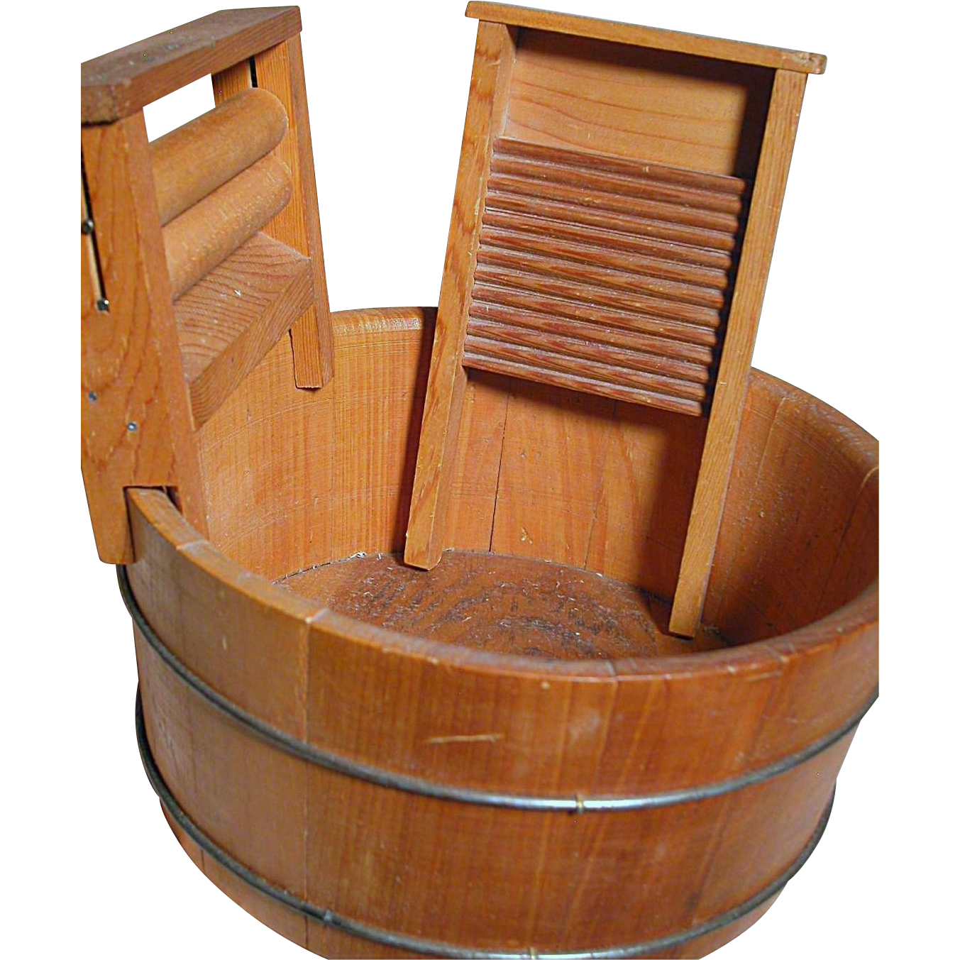 Vintage Wood Wash Tub With Wringer Amp Scrub Board From