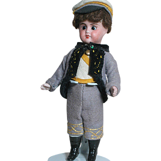 Rare French All Bisque Doll Swivel Neck  Original Soldier  Outfit  Sleep eyes  Closed mouth