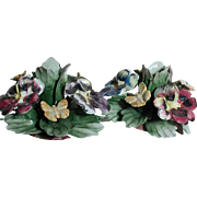 Two Capodimonte Candle Holders  Made in Italy  Floral with Butterflys