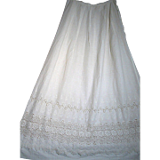 Antique Victorian Women Petticoat or Slip White Cotton  Beautiful Lace
