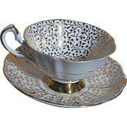 Queen Anna  England Bone China  Anniversary Wedding Cup & Saucer Gold Lace Pattern