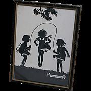 Vintage Black & White Silhouette Framed Picture Pepper and Salt  Children Jump Rope