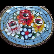 Vintage Mosaic Brooch Raised Floral Stones