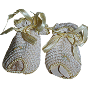 Vintage Hand Made Crochet  Doll Slipper shoes Yellow & White