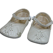 Vintage White Leather Doll One Strap Shoes