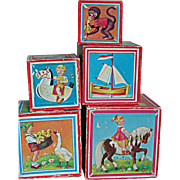 Blocks Lithograph Paper over Wood Blocks Doll or Teddy Bear  Accessory's Display