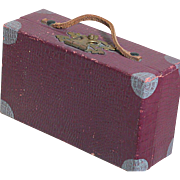 Vintage Doll Trunk   Suitcase Maroon with Silver Tone Corners