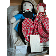 2 Two Vintage Amish Cloth Dolls  1 with Embroidery face and 1 no face  Ida Mae