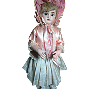 "J Steiner Figure ""B"" Antique French Bisque Doll Paris 1885 Rare 2 Rows Teeth Bisque Hands and Lever Sleep Eyes"