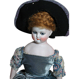 Antique German Fashion Doll Dome Head Kid Body Bisque Hands Blue Paperweight Eyes Beautiful