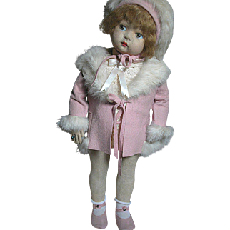 Lovely Lenci Type Felt  Doll with Original  Outfit   Pretty in Pink