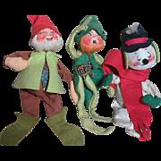 Three Vintage Annalee Dolls  Elf and Snowman