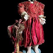 Antique  Jumeau Doll  Dress  Deep Maroon  Dress  &  Hat &  Wig