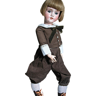 German K H Walkure 250  Doll  Dressed as Boy  Great Outfit  large doll  Composition Doll