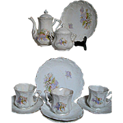English Childs  China tea Set  Floral  Transfer & Handpainted Leaves  Fine quality