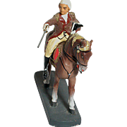 German Toy Soldier on Horse with Sword  on Wood Base