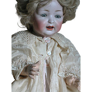 Large German Hertal Schwab 150 Baby Doll  Wonderful Antique Gown