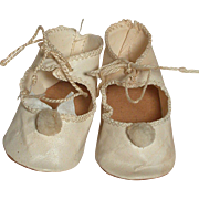 Vintage White Cloth Doll Shoes  All Original  Nice Condition