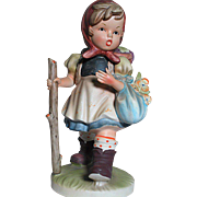 Large Hummel Look Alike  Figurine of Girl  with Walking Stick and Basket Of Flowers