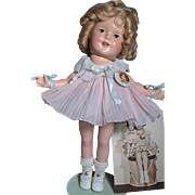 "Early Composition Shirley Temple Doll  Excellent Condition 13"" Rare tag with Pin & Studio Picture and Postcard"