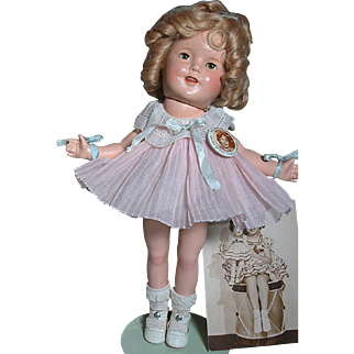 "Early Composition Shirley Temple Doll  Excellent Condition 13""  with Pin and Studio Picture and Postcard"