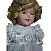 Pretty Ideal Shirley Temple Composition Doll   Marked Head & Back  22 ""
