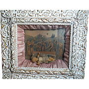 Unusual Antique  Framed Shadow Box  with Wax Baby Jesus Doll in Nativity Setting